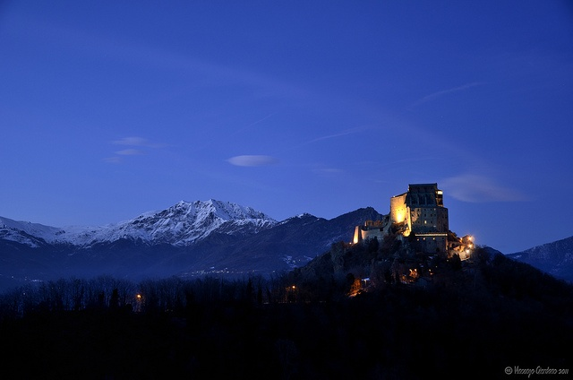 Sacra di San Michele, built of 1000 years ago. Perched on the mountain a mountain side in Northern Italy. I have always loved this place as I can see it from my Nonna's porch in the valley below.