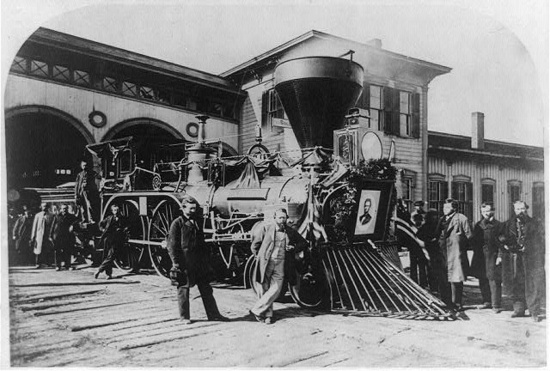 "The Engine ""Nashville"" that pulled Abraham Lincoln's funeral train. On Apr. 21…"