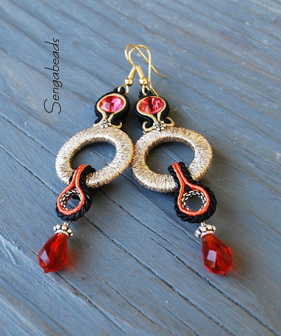 Soutache earrings with gold rings and crimson red by Sengabeads 85 $