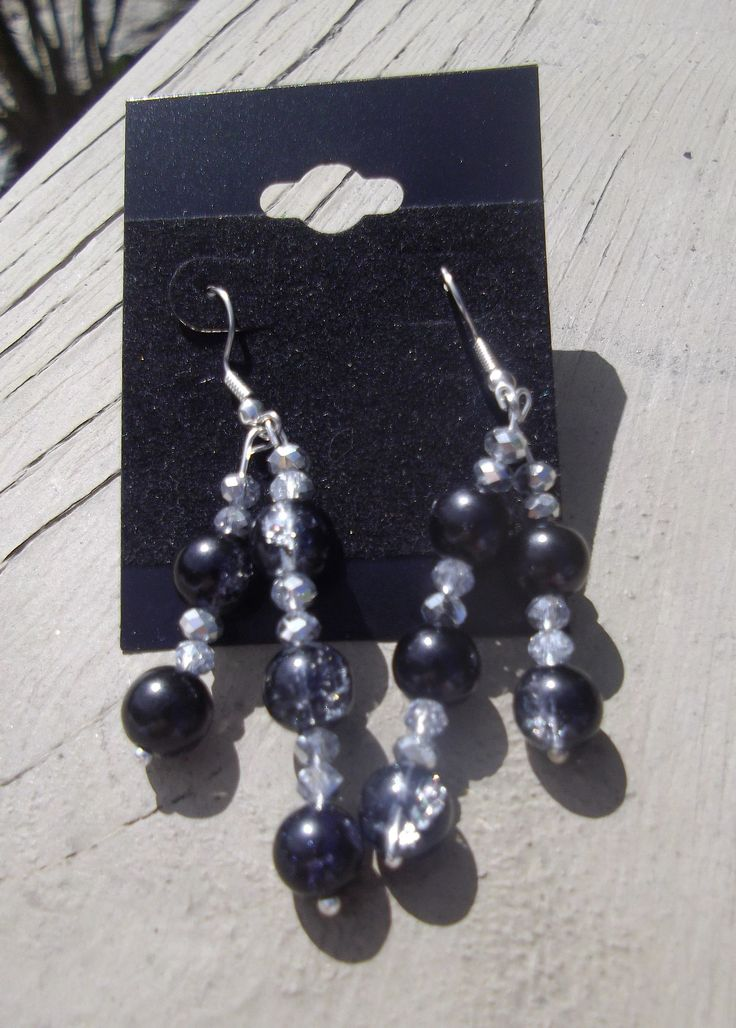 """2.5"""" Black & Silver with Clear Crystals Earrings"""