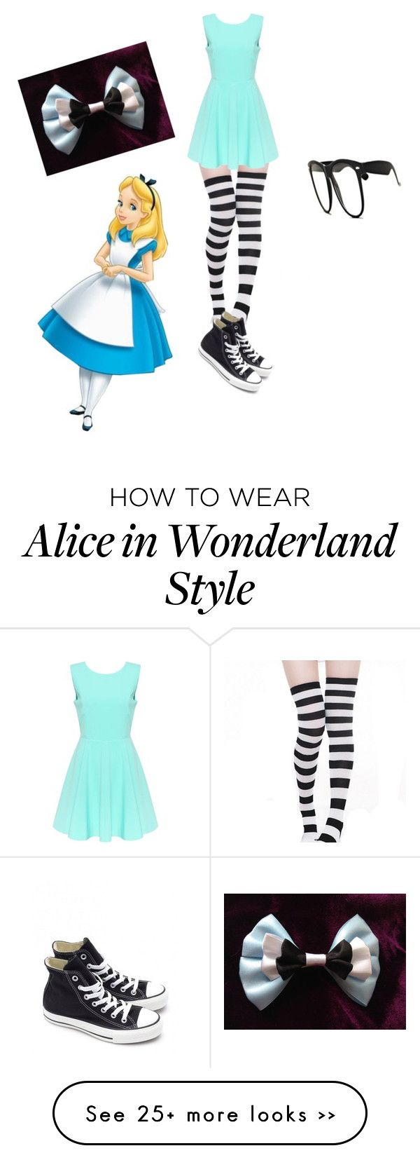 """""""Alice In Wonderland // Hipster Alice"""" by asophh on Polyvore featuring Converse"""