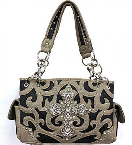 Black and Tan Western Rhinestone Cross Purse - Handbags, Bling & More!