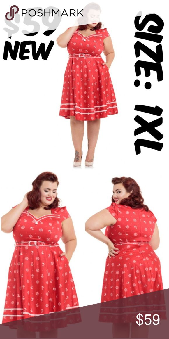 """Anchor Pin Up Sailor Clothing Dress Vintage Girl Anchor Pin Up Sailor Clothing Dress  BUST: 44-46"""" WAIST: 40-42"""" CONDITION: NEW WITH TAGS Voodoo Vixen Dresses"""