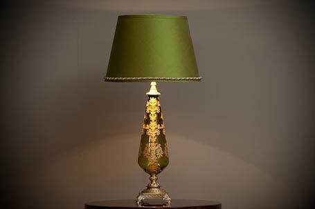 C2 GEG603L Green Etched Glass Lamp Dimensions: L:120 mm x 120 mm x 475 mm High S: 360 mm x 250 mm High