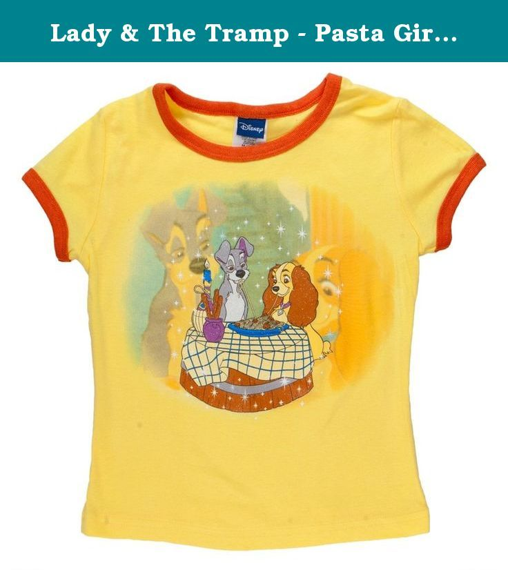 Lady & The Tramp - Pasta Girls Youth Ringer T-Shirt - Medium Yellow. From Lady & The Tramp comes this standard cotton Girls Youth Ringer T-Shirt. The shirt is a deep yellow with red rings around the neck and sleeves. The front of the shirt has Lady & The Tramp sharing a dish of pasta. Great T-Shirt for any young female that loves Lady & The Tramp.