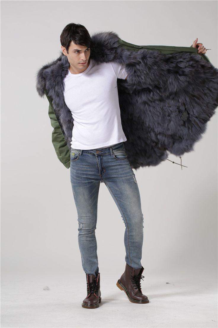 Aliexpress.com :  2015 neue mode anpassen Mr Mrs fell mäntel unisex real big waschbär pelzkragen grau fuchspelz parka von verlässlichen parka l-Lieferanten auf foxfurs kaufen