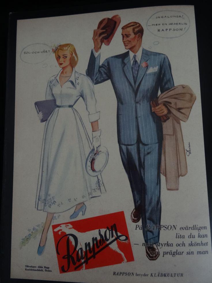 """""""Rappson betyder klädkultur"""" Tillverkare: Albin Rapp Konfektionsfabrik, Örebro I 1949"""