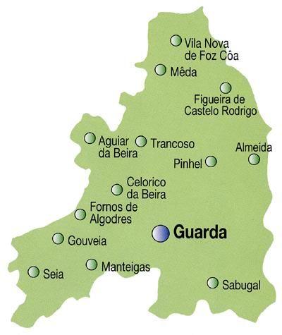 Mapa do Distrito da Guarda, Portugal