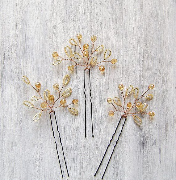 Wedding Hair Accessories with czech seed beads and glass crystal , Bridal Hair pins, Bridal Hair, Golden Hair Pins, Set of Three (3)