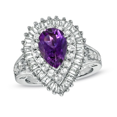 Zales Pear-Shaped Amethyst Ring in Hammered Sterling Silver with 14K Gold Plate - Size 7 NOjgPIFa