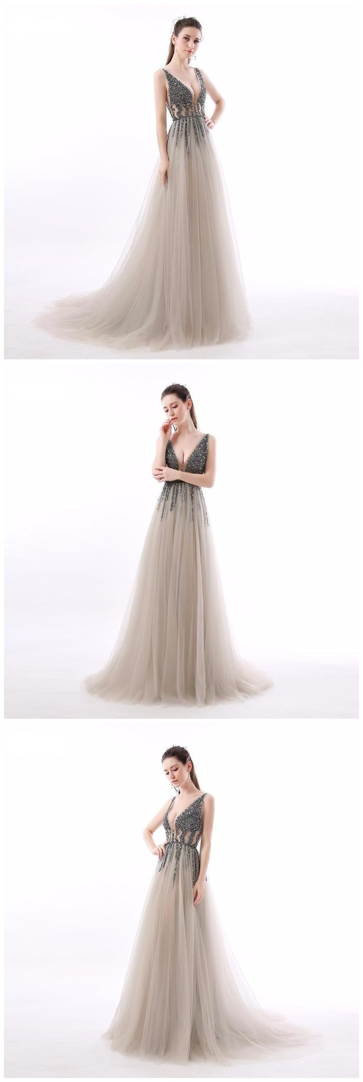 A-line Prom Dress,V neck Prom Dress,Long Prom Dress,2018 Prom Dress,Beading Prom Dress,Silver Prom Dress #amyprom #longpromdress #2018prom #promdress