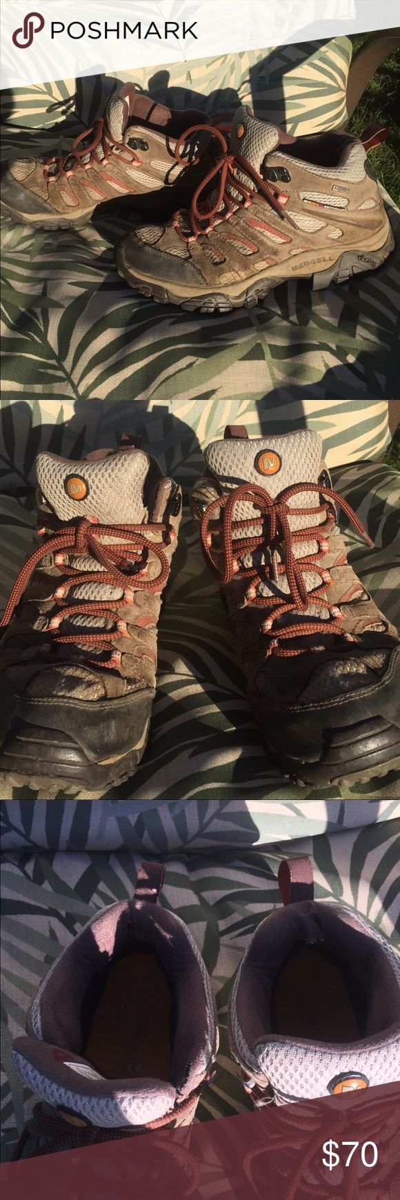 100% waterproof Merrell Women's hiking boots . I won these and love them! So comfortable. Keeps the feet dry! Used but still function great! High quality brand. Merrell Shoes Ankle Boots & Booties