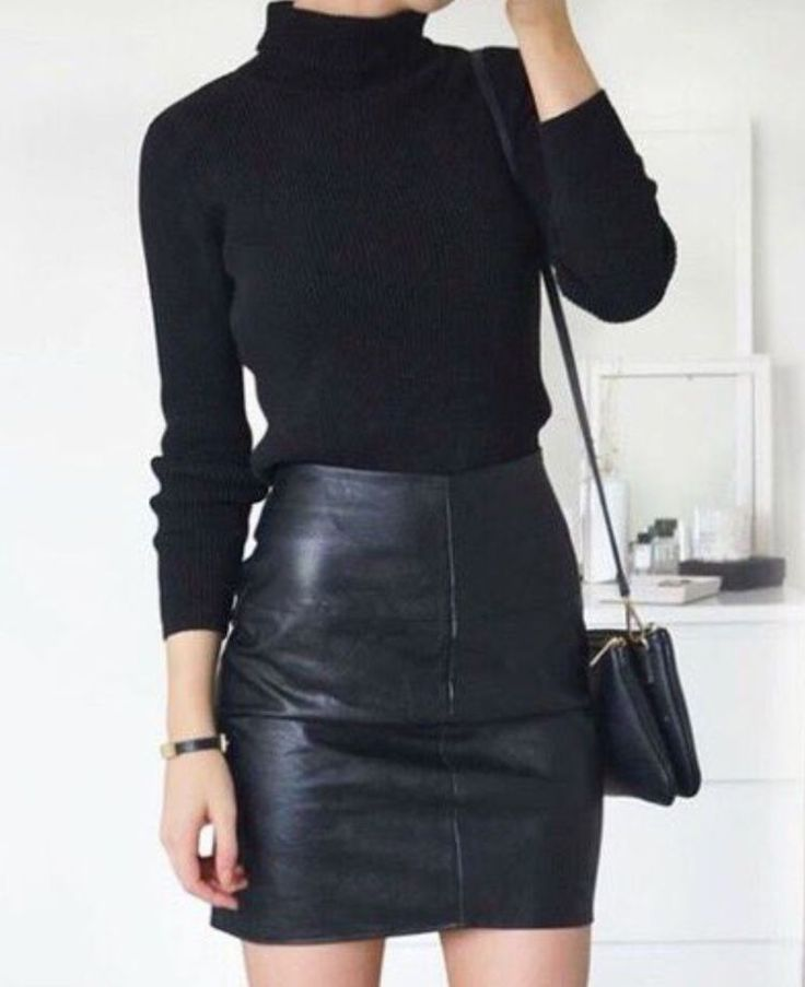 Black Leather Skirt & Turtleneck Sweater