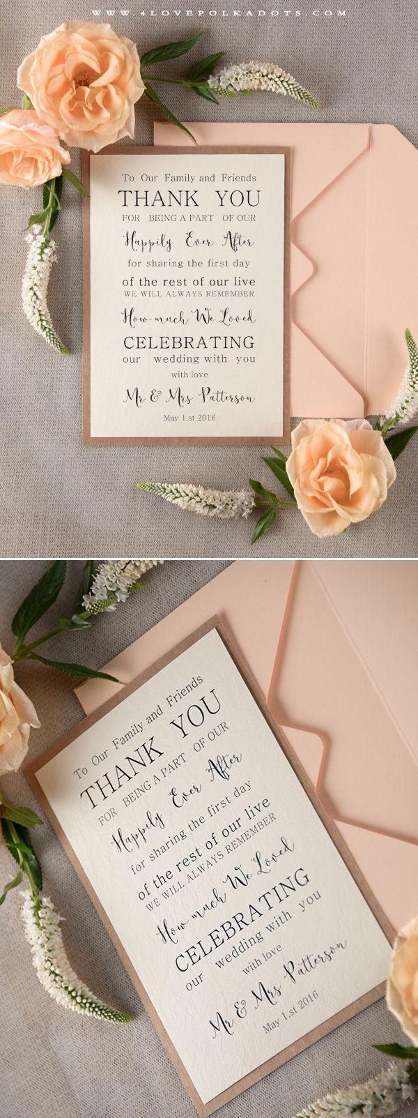 Modest Romantic Wedding Thank You Card #thankyou #romanticwedding #summerwedding