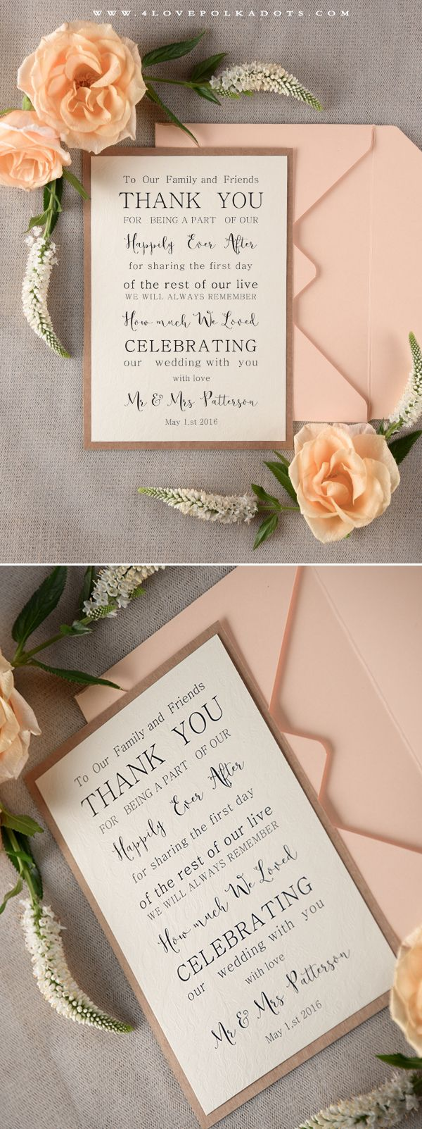 Modest Romantic Wedding Thank You Card #thankyou #romanticwedding #summerwedding