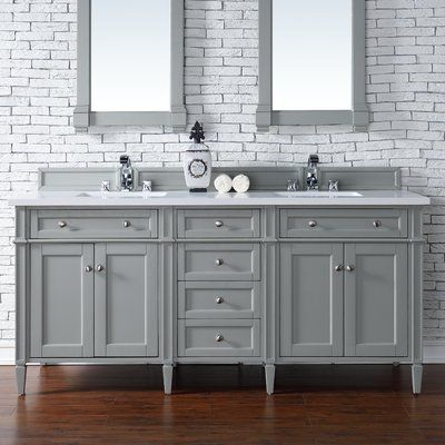 "James Martin Furniture Brittany 72"" Double Urban Gray Bathroom Vanity Set"