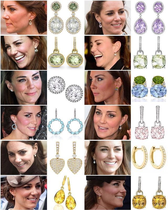 Kate's updated @kikimcdonough earring collection (left to right, top to bottom): 1: Special edition earrings made of green tourmalines, green amethysts and diamonds - made especially to celebrate Charlotte's birth. 2: Lavender amethyst pear and oval drops £3,900 / $5,686 3: Green amethyst and diamond oval drop earrings £2,600 / $3,900 4: Green amethyst and diamond cushion drop earrings £1,300 / $1,950 5: White topaz and diamond stud earrings £1,210 / $1,815 6: Large peridot and blue topaz…