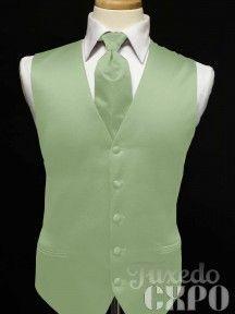 groomsman with sage ties | Tuxedo Vest - Sage Satin Vest and Windsor Band Tie Combination
