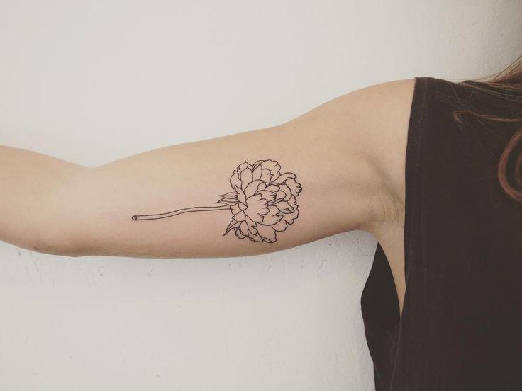 simple peony - tattoo people toronto