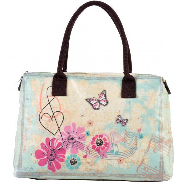 Retro Music Butterfly Tote Bag