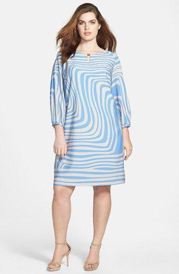 Tahari Geometric Print Shift Dress (Plus Size) available at #Nordstrom