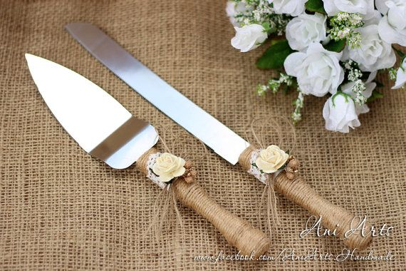 Wedding Cake Server and Knife Rustic Wedding Cake by AniArts