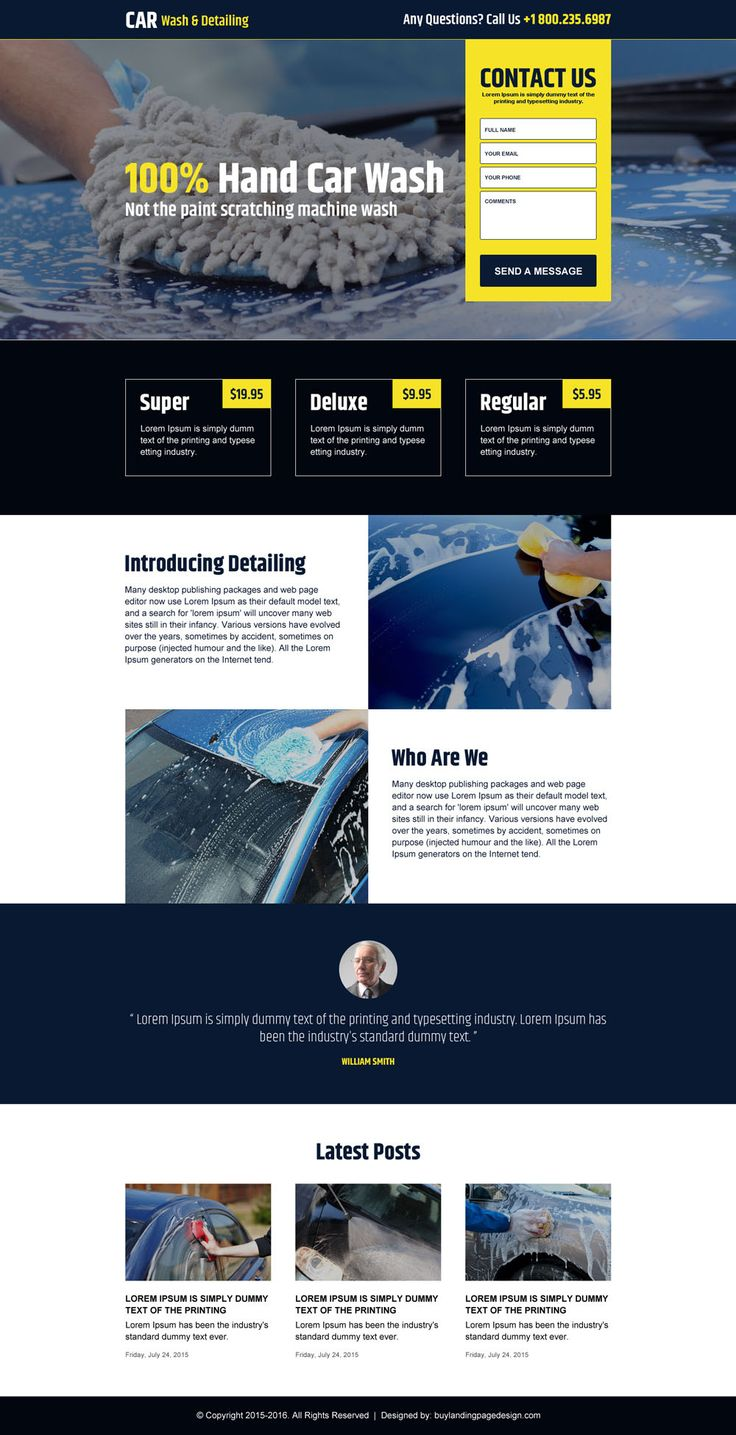 Hand car wash lead capture landing page design