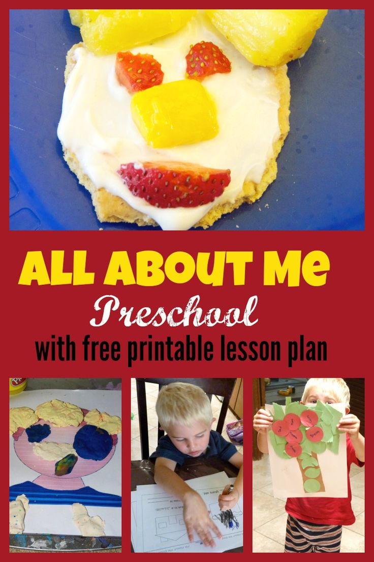 All about me preschool theme week. With free printable two day lesson plan. A round up of  lists of fun all about me activities and ideas.