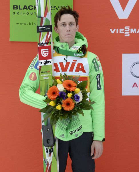 Peter Prevc Photos Photos - Second placed Peter Prevc of Slovenia poses on the podium during the FIS Ski Jumping Worldcup on March 12, 2016 in Titisee-Neustadt, Germany. - FIS Ski Jumping Worldcup Titisee-Neustadt - Day 1