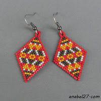 Схемы сережек-ромбиков - мозаика / кирпичик - free peyote earrings patterns