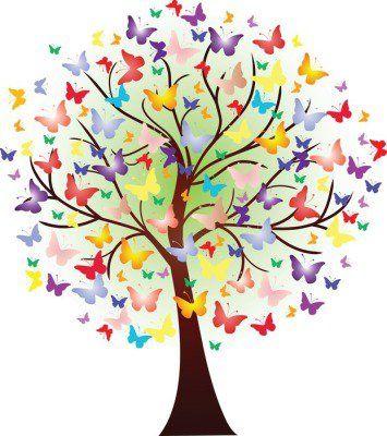 Muursticker Vector prachtige lente boom, bestaande uit vlinders