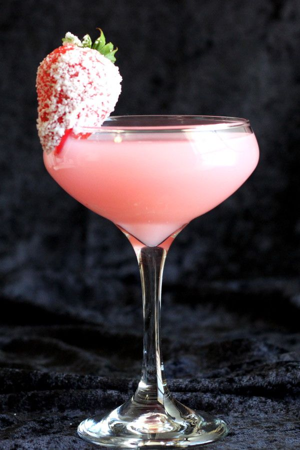Strawberry Patch drink recipe: cocktail with strawberry liqueur, cherry vodka, Galliano, sloe gin, mandarin juice, cream