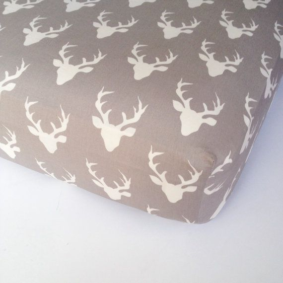 Deer Crib Bedding - Grey White Buck Crib Sheet / Woodland Nursery Bedding / Standard or Mini Crib Sheet / Fitted Baby Sheet by Babiease