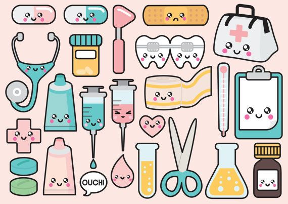 High quality vector clipart. Cute doctor vector clip art. Kawaii medical clipart set. Kawaii clipart! This set features kawaii bandaid, stethoscope, medicine, bandage, doctors bag and more! Perfect for creating greeting cards,invitations, gift wrap and stationery, decorating your blog or website, designing posters and room decor. Can be used for digital or print. Great for gift cards and wrapping paper, scrapbooking and blogs or websites.  These high quality vector elements come in a fully…