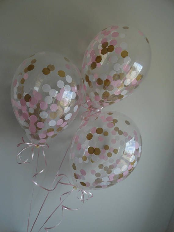 """DETAILS: - Includes Clear 11 Latex Balloons pre-filled with Pink, Gold, & White tissue paper confetti circles. - 11"""" balloons require .5 cubic feet of air or helium to be filled properly. - These balloons will arrive flat and will not be inflated yet. You can use a hand pump or helium"""