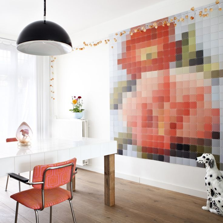 Pixel Patchwork Flowers - Ixxi #walldecor #pixel #art