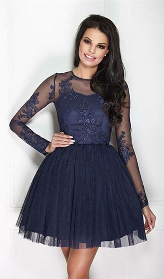 a7191b23e0e2 Long Sleeves Short Prom Dress,short Homecoming Dress,tulle Prom ...