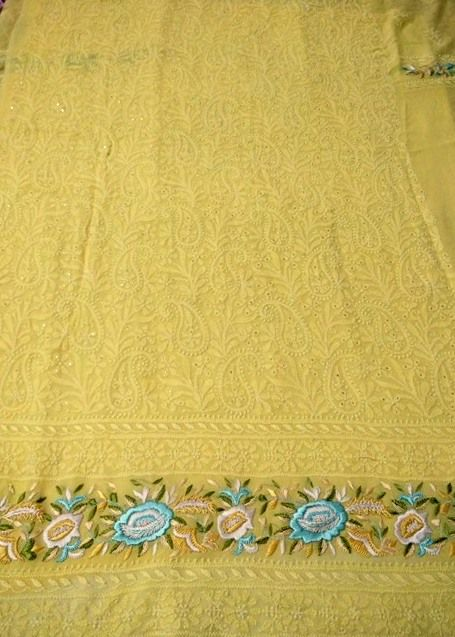 Buy Pure Georgette Kurta Fabric with Chikankari and Parsi Embroidered Daaman (Kurta and Dupatta)
