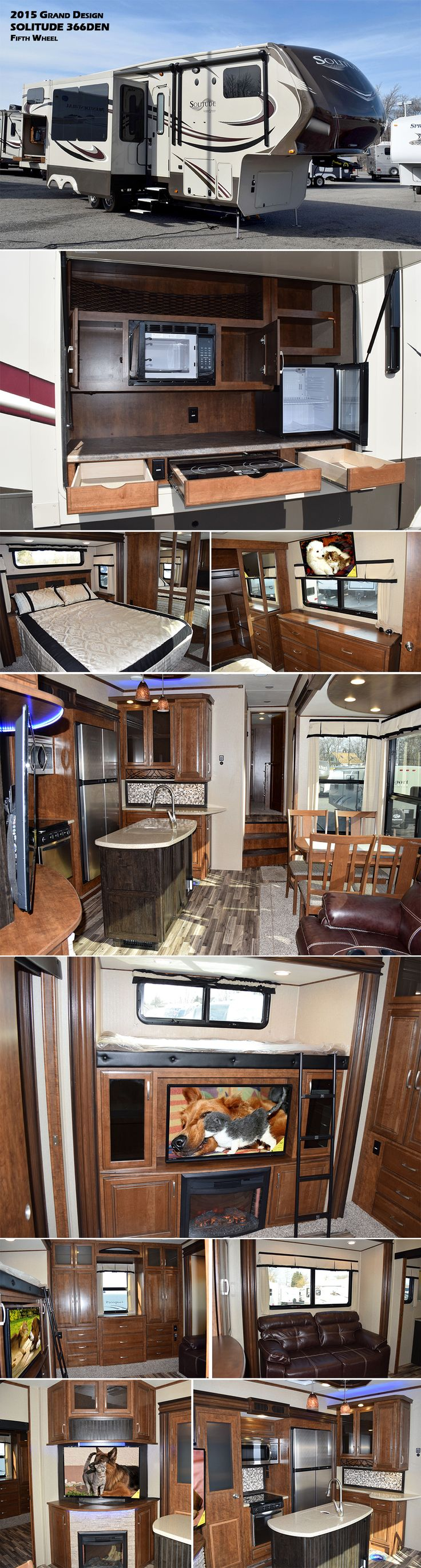 This Grand Design SOLITUDE 366DEN Fifth Wheel has everything you and your guests will need to enjoy any camping trip you take. Enjoy a spacious kitchen and living area featuring a fireplace with LED TV above. Back through to the very rear you will find a private living area bunk room with its own entertainment center and fireplace. Off this room is a convenient half bath! On the outside enjoy cooking with the outdoor kitchen which has a two burner stove top, microwave oven, and refrigerator.