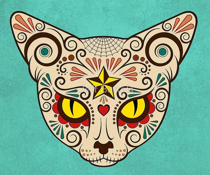 Day of the Dead Sugar Skull Cat Face | Jeff Bartels