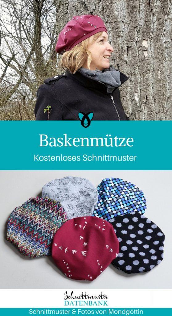 Beret Bilbao jersey cap women women sewing pattern free shipping   – Nähen und Patchwork