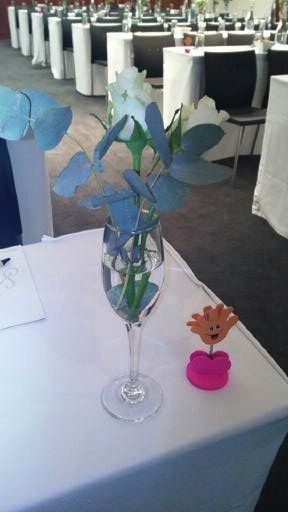 The ladies were welcome with lovely conference table decor