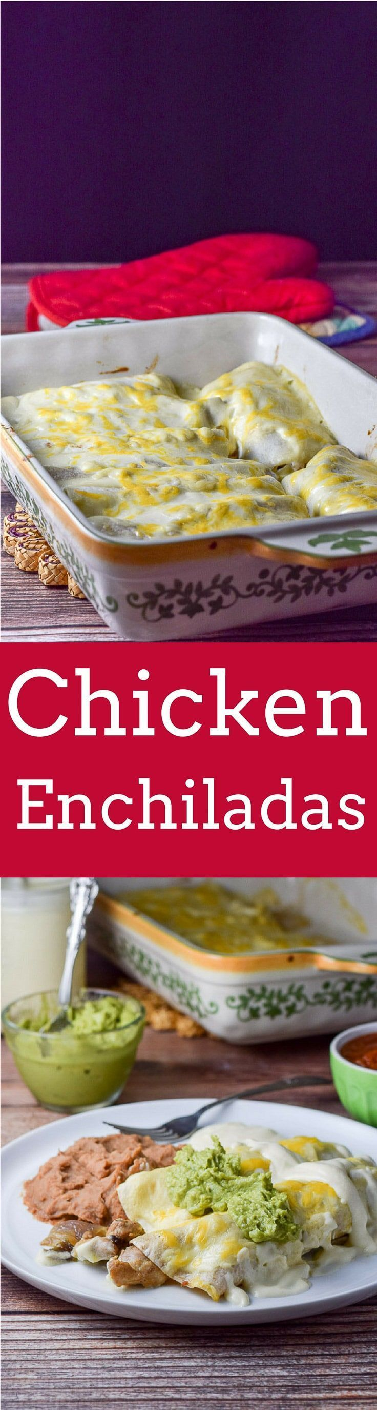 Easy Chicken Enchiladas with Sour Cream Sauce so easy and extra delicious!  Chicken thigh meat sautéd with shallots, rolled in tortillas and slathered with sour cream sauce https://ddel.co/echicen via @dishesdelish