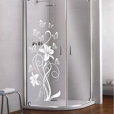 Glas Dekor Aufkleber Fensterbild Duschkabine Dusche Fenster Spiegel Blume 23