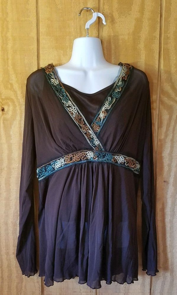 3f80f0845c6ecd Lane Bryant Womens 14 16 Brown Metallic Embroidered Long Sleeve Top   fashion  clothing  shoes  accessories  womensclothing  tops (ebay link)