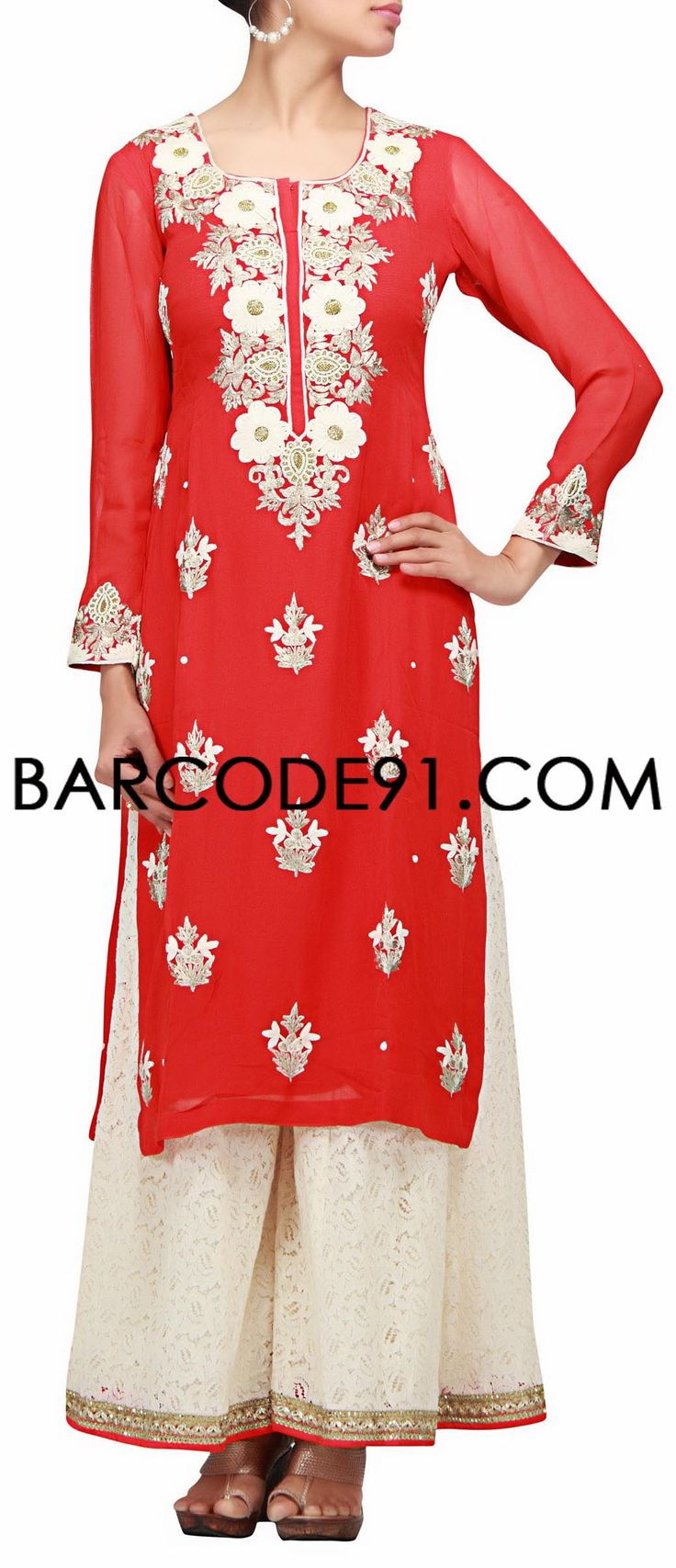 Buy it now http://www.barcode91.com/a-bright-red-suit-in-thread-embroidery-with-palazzo-by-b91-exclusive.html A bright red suit in thread embroidery with palazzo by B91 Exclusive