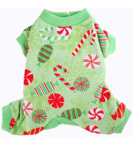 Christmas Puppy Pajamas Cozy Warm Flannel Green Peppermint Candies