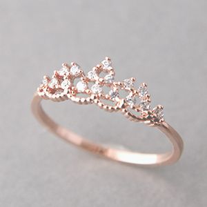 cz princess tiara ring rose gold - Pandora Wedding Rings