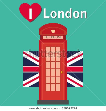 Red telephone box - London. Retro London phone booth. London phone box , vector illustration. i love London. - stock vector