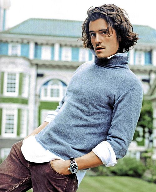Orlando Bloom | Long curly shaggy hairstyle | Preppy                                                                                                                                                                                 More
